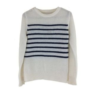 Assembly Label White Navy Striped Sweater